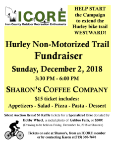 ICORE Non Motorized Trail Fundraiser @ Sharon's Coffee Company   Hurley   Wisconsin   United States
